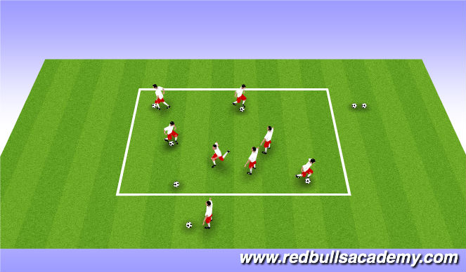 Football/Soccer Session Plan Drill (Colour): Chain gang game( dribbling)