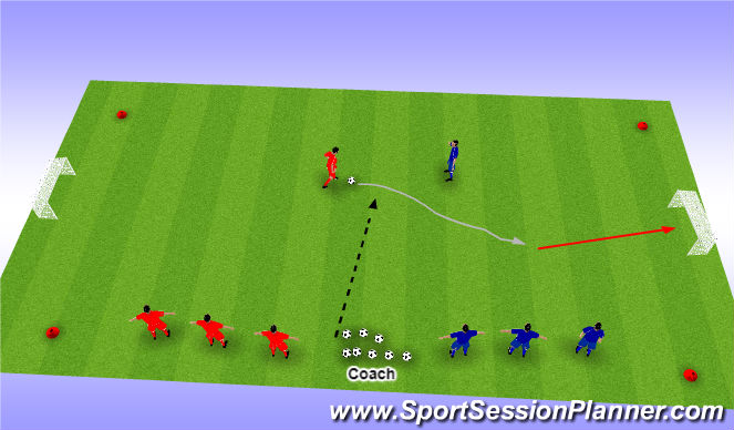 Football/Soccer Session Plan Drill (Colour): U6 - Activity- Get OUtta Here