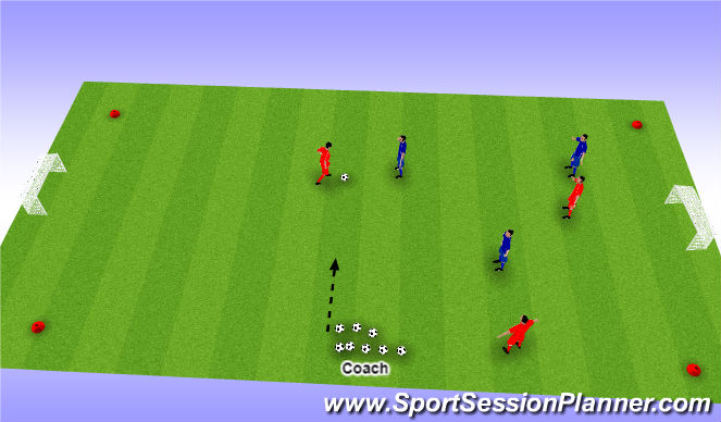 Football/Soccer Session Plan Drill (Colour): U6 - Game 3v3 New Ball