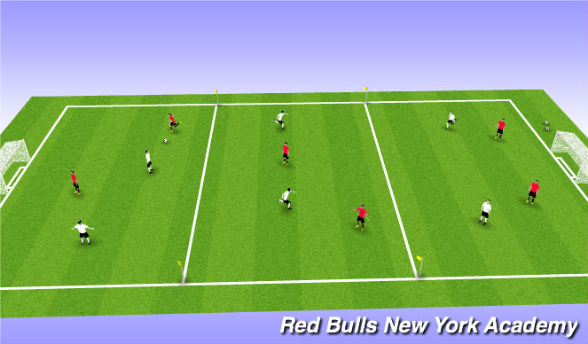 Football/Soccer Session Plan Drill (Colour): ACT3- 3 Zone Scrimmage