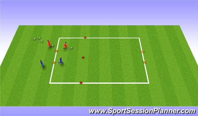Football/Soccer Session Plan Drill (Colour): 1v1 to end gates