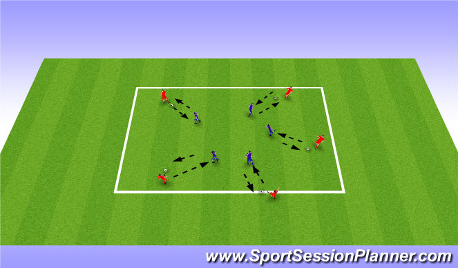 Football/Soccer Session Plan Drill (Colour): Exercise 1: Warm Up Drill
