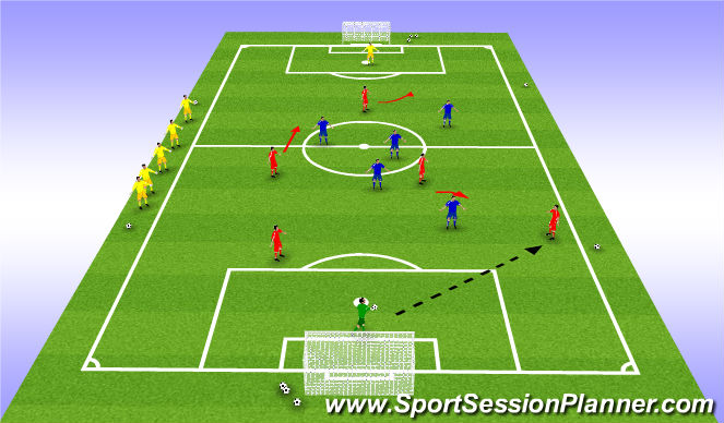 Football/Soccer Session Plan Drill (Colour): King's/Queen's Court