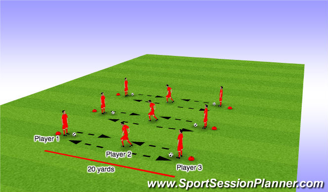 Football/Soccer Session Plan Drill (Colour): Basic Passing Alternating Feet