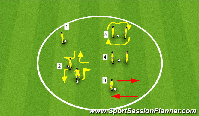 Football/Soccer Session Plan Drill (Colour): Warm Up - Sole Taps