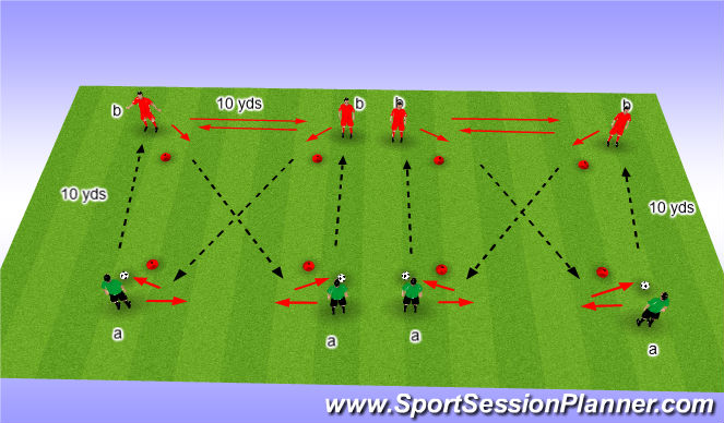 Football/Soccer Session Plan Drill (Colour): Passing & Receiving 3