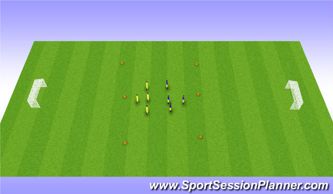 Football/Soccer Session Plan Drill (Colour): High ball: control and shot
