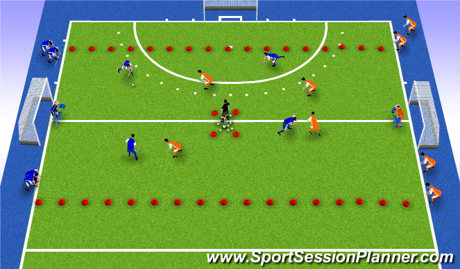Hockey Session Plan Drill (Colour): Fives setup