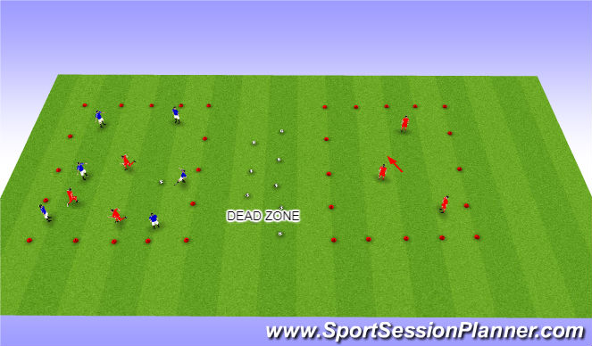 Football/Soccer Session Plan Drill (Colour): 6v3 possession
