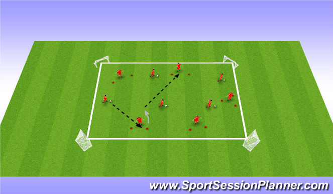 Football/Soccer Session Plan Drill (Colour): Technical / Opposed (Triangles)