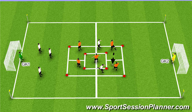 Football/Soccer Session Plan Drill (Colour): 5v2 / 5v5 Game