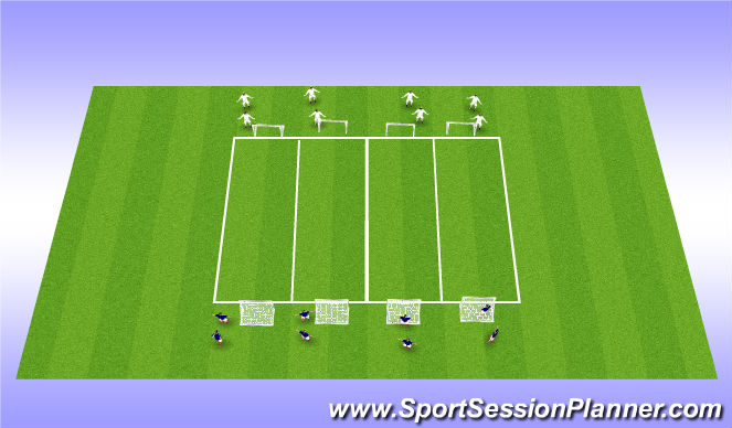Football/Soccer Session Plan Drill (Colour): 2v2  then 4v4