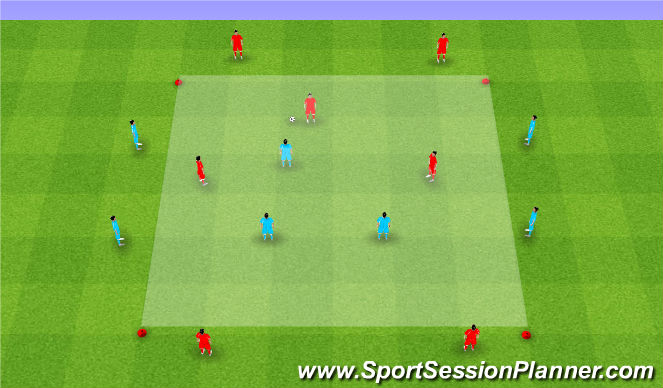 Football/Soccer Session Plan Drill (Colour): 3v3 with targets directional
