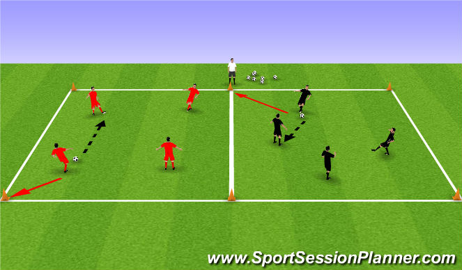 Football/Soccer Session Plan Drill (Colour): Passing and Moving in grids