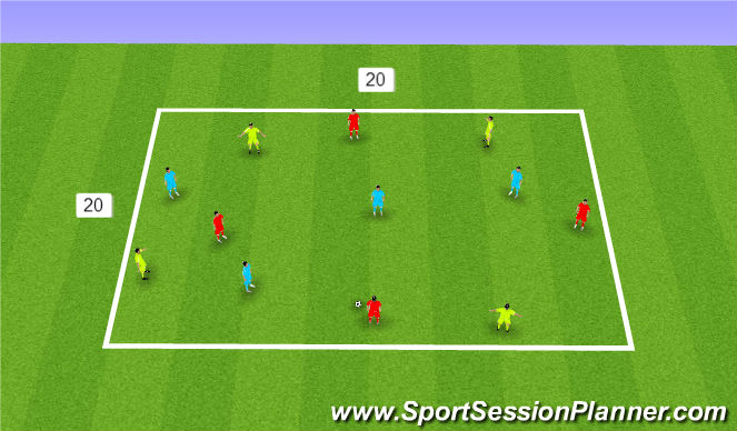 Football/Soccer Session Plan Drill (Colour): 4v4+4 Within