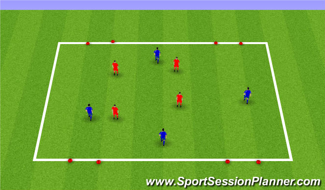 Football/Soccer Session Plan Drill (Colour): Futsal - 4 v4 4 goal