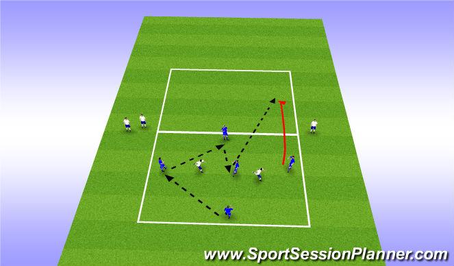 Football/Soccer Session Plan Drill (Colour): 5v2 Penetration Rondo