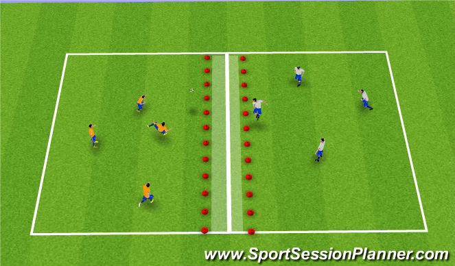 Football/Soccer Session Plan Drill (Colour): Soccer Tennis