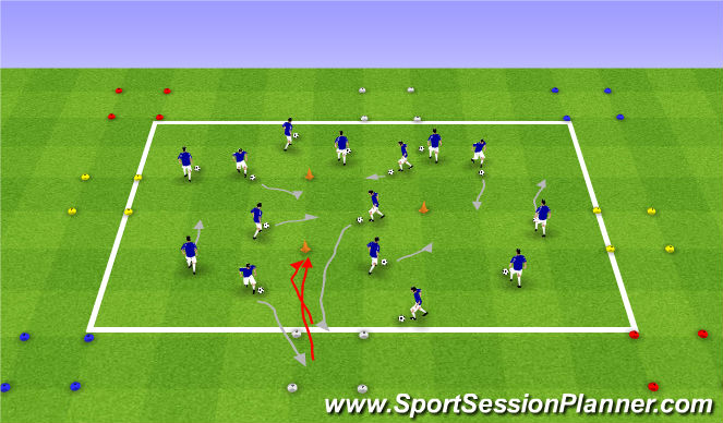 Football/Soccer Session Plan Drill (Colour): Regroupement