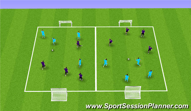 Football/Soccer Session Plan Drill (Colour): Free Play (4v4)