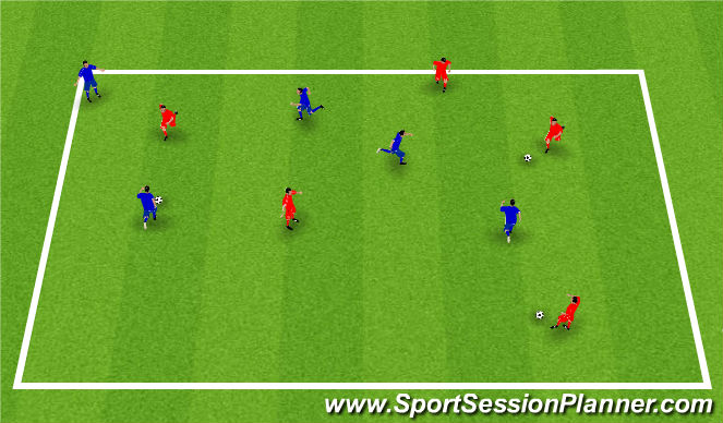 Football/Soccer Session Plan Drill (Colour): 3 Ball Possession