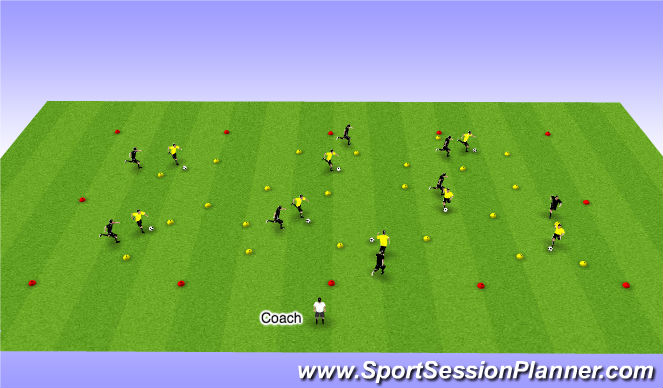Football/Soccer Session Plan Drill (Colour): Dribbling with pressure - 12 minutes