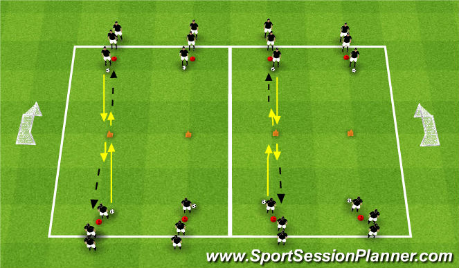 Football/Soccer Session Plan Drill (Colour): Quick Turns & Passes