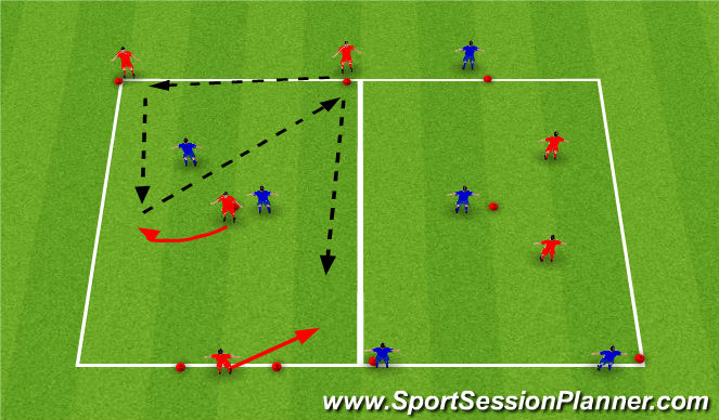 Football/Soccer Session Plan Drill (Colour): Y-passing
