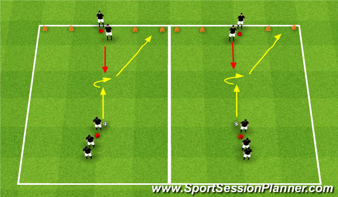 Football/Soccer Session Plan Drill (Colour): 1v1 Two Goal Game