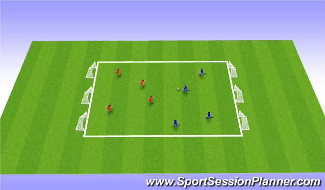 Football/Soccer Session Plan Drill (Colour): Global 4v4 passed finish