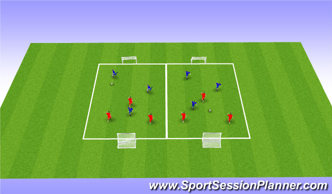Football/Soccer Session Plan Drill (Colour): Global 3v3 Two Up Soccer