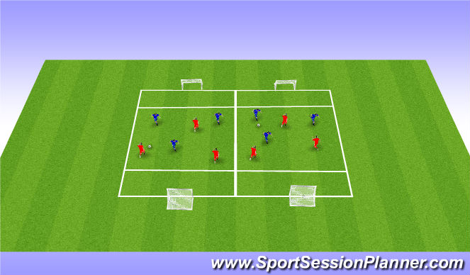 Football/Soccer Session Plan Drill (Colour): Global 3v3/4v4