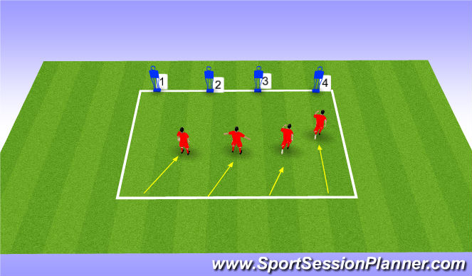Football/Soccer Session Plan Drill (Colour): Defending shape (following the command)