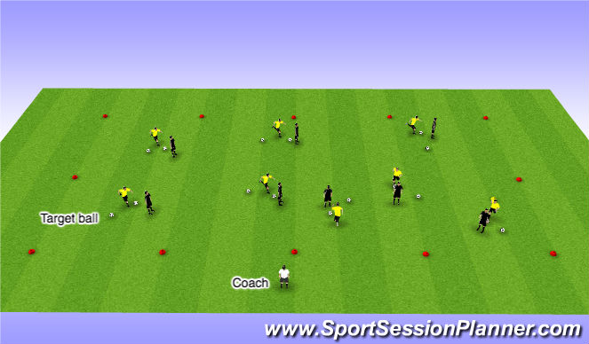 Football/Soccer Session Plan Drill (Colour): 1v1 to a ball - 12 minutes