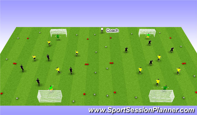 Football/Soccer Session Plan Drill (Colour): 5V5 small sided game - 12 minutes