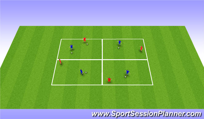 Football/Soccer Session Plan Drill (Colour): Movement to get on the ball -  Warm up