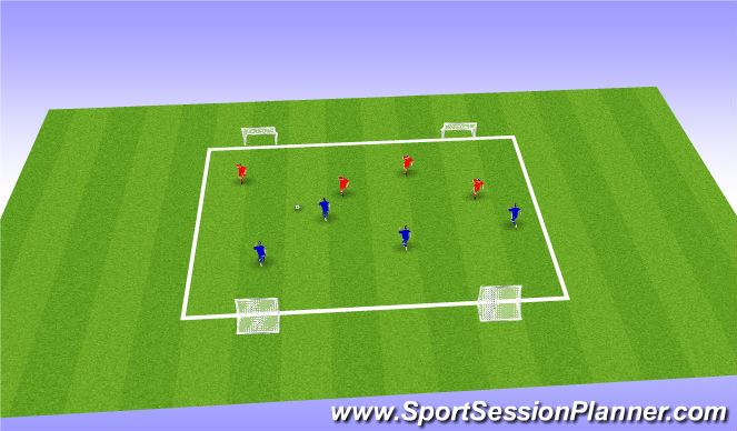 Football/Soccer Session Plan Drill (Colour): Global 4v4