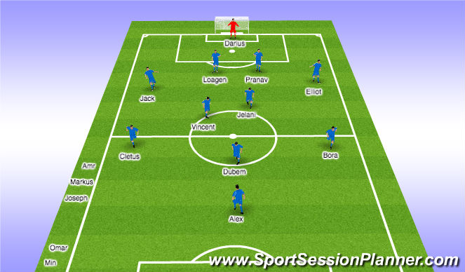 Football/Soccer Session Plan Drill (Colour): 1st Half - 10min
