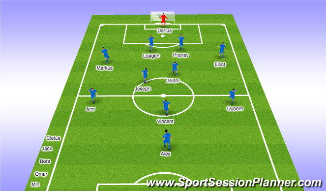 Football/Soccer Session Plan Drill (Colour): 1st half - 20min