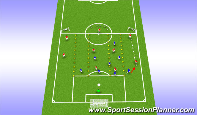 Football/Soccer Session Plan Drill (Colour): Phase of play 1 - Operate in 4, leave 1