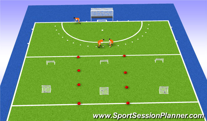 Hockey Session Plan Drill (Colour): Kleine partijtjes + strafcorner