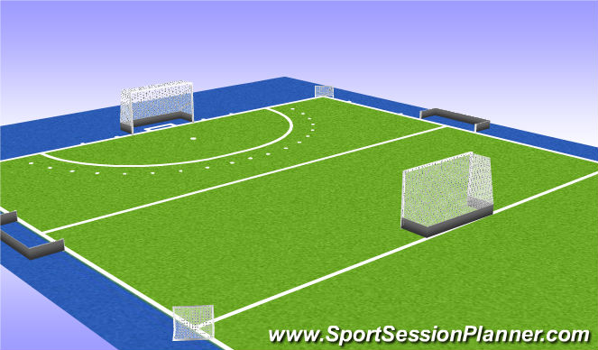Hockey Session Plan Drill (Colour): Partij met 4 goals