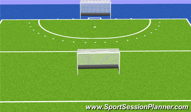 Hockey Session Plan Drill (Colour): Partij met gedraaide doel