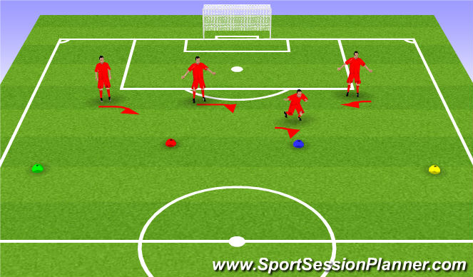 Football/Soccer Session Plan Drill (Colour): Back4 Training