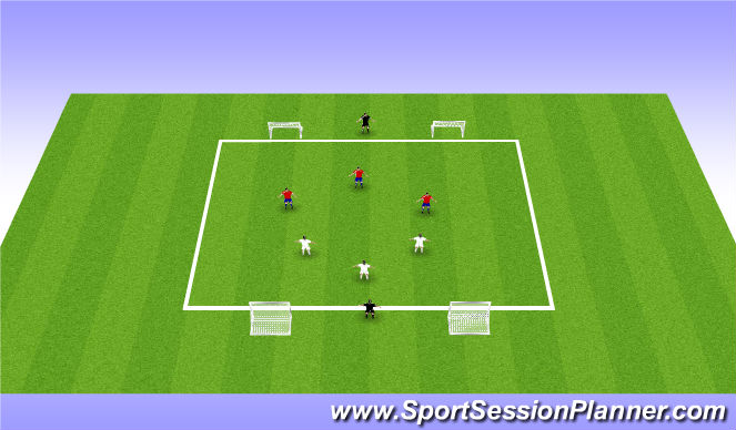 Football/Soccer Session Plan Drill (Colour): Screen3v3+1