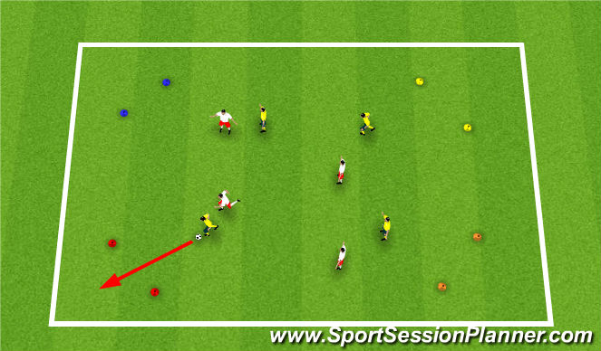 Football/Soccer Session Plan Drill (Colour): SSG: Dribbling to 4 Corners