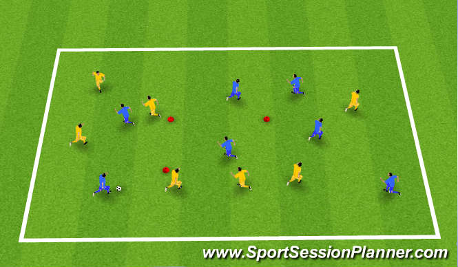 Football/Soccer Session Plan Drill (Colour): Keep Ball 7 v 7 box