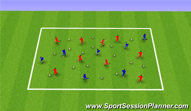 Football/Soccer Session Plan Drill (Colour): Warm-Up - Recognising the Space