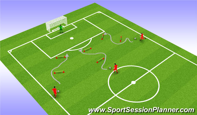 Football/Soccer Session Plan Drill (Colour): Shooting with Agility Cones