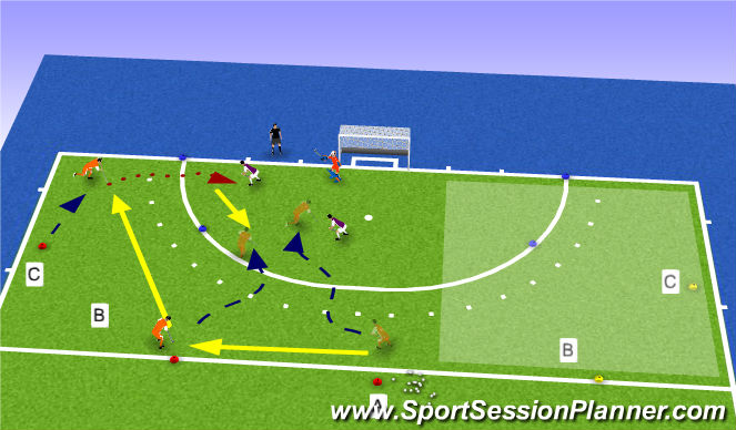 Hockey Session Plan Drill (Colour): Op zoek naar een opening